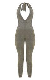 2c6f4b0de3af Gold Glitter Halterneck Slim Leg Jumpsuit image 3