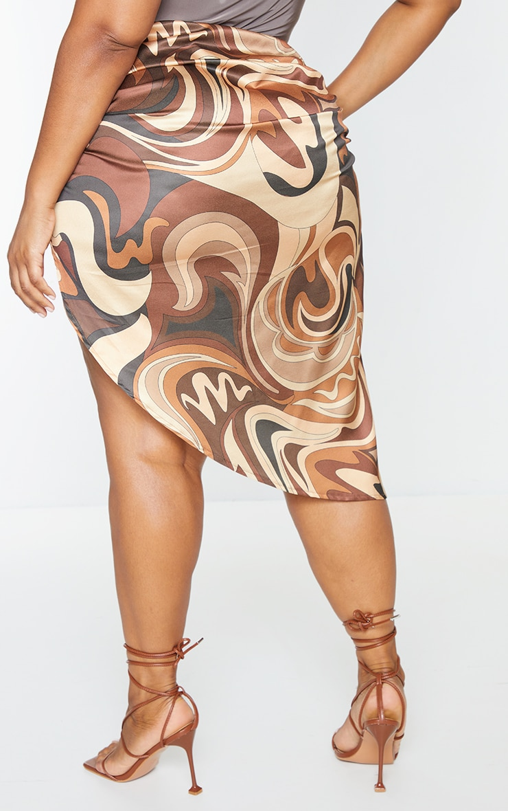 Plus Brown Marble Print Ruched Side Split Midi Skirt 3