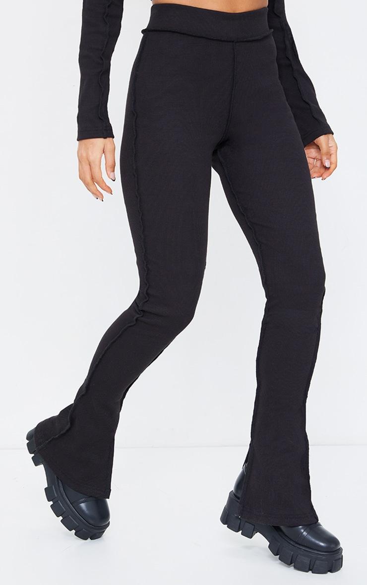 Black Structured Rib Stitch Detail Split Hem Flared Pants 2