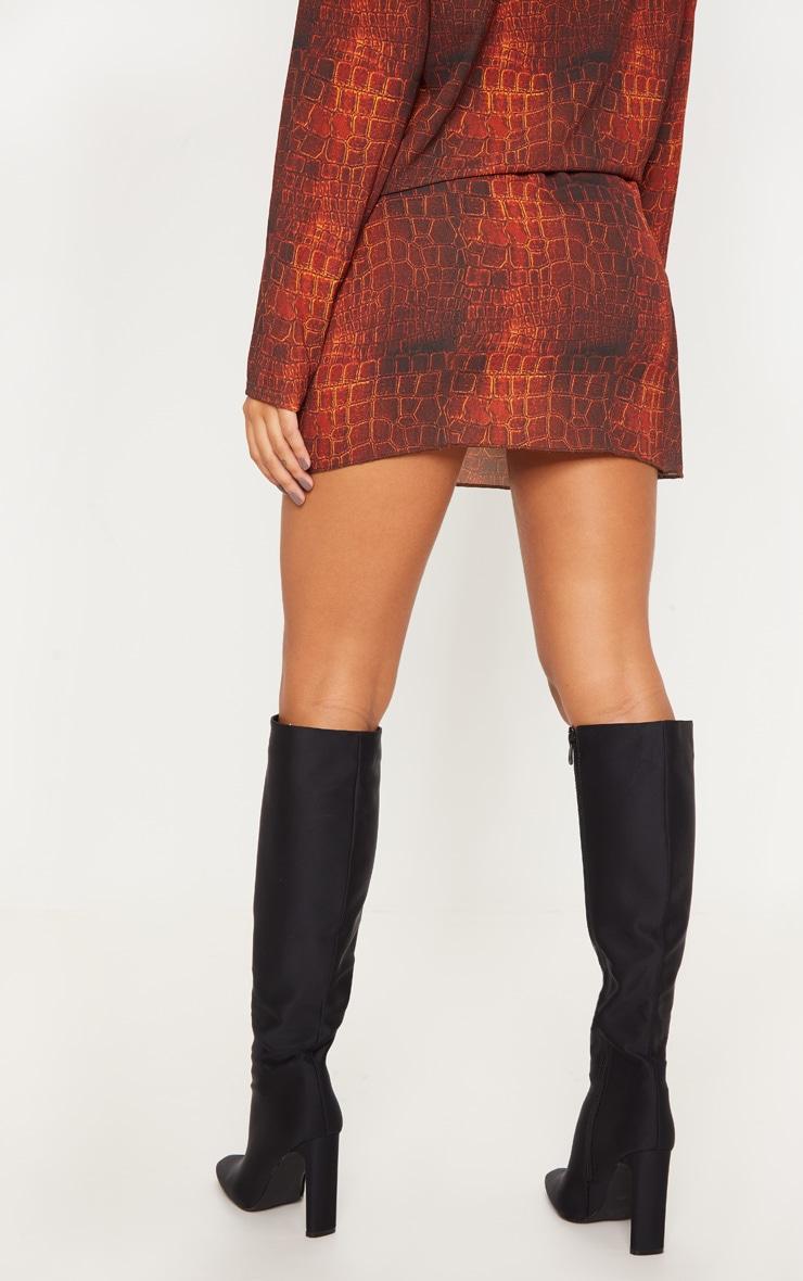 Brown Croc Print Wrap Mini Skirt 2