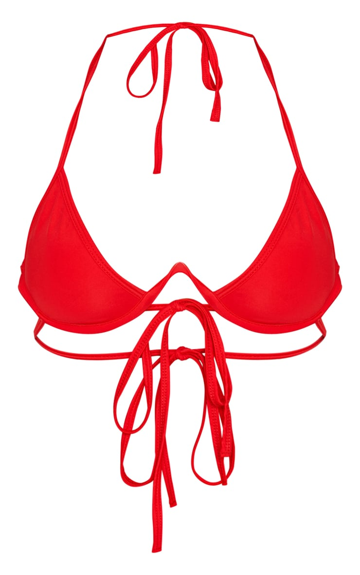 Red Cleavage Wire Bikini Top 3