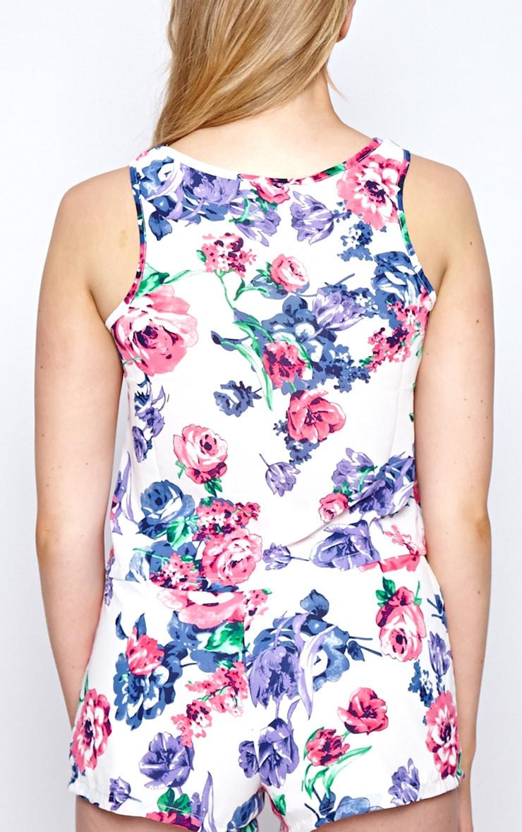 Flora White Floral Print Cropped Vest 2