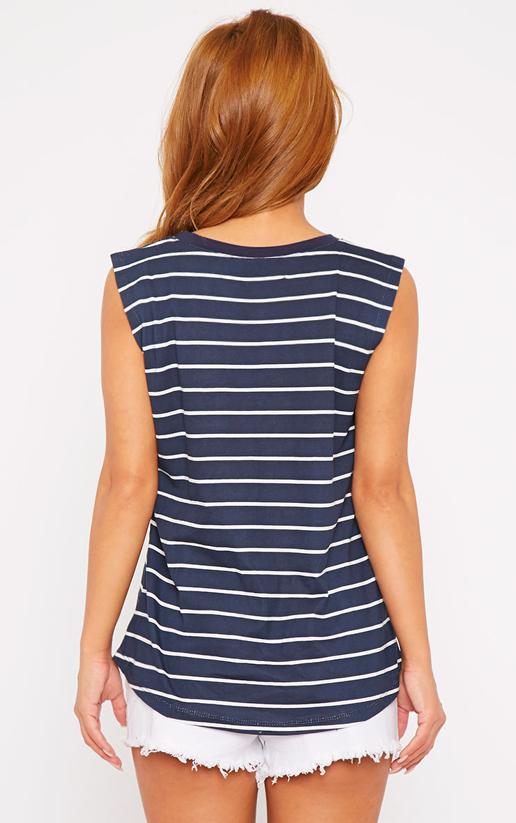 Lisbet Navy Stripe Vest Top 2