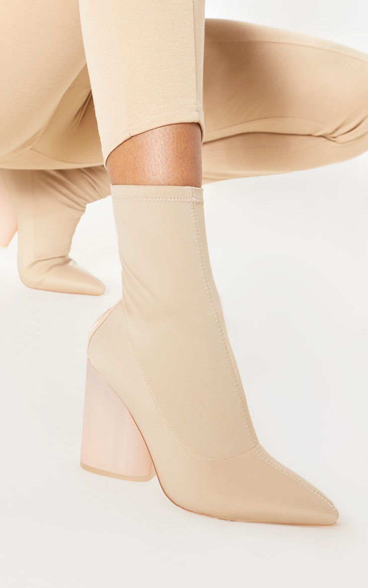 Nude Round Clear Heel Sock Boot 1