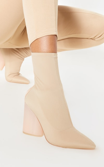 893a7af214f Nude Round Clear Heel Sock Boot
