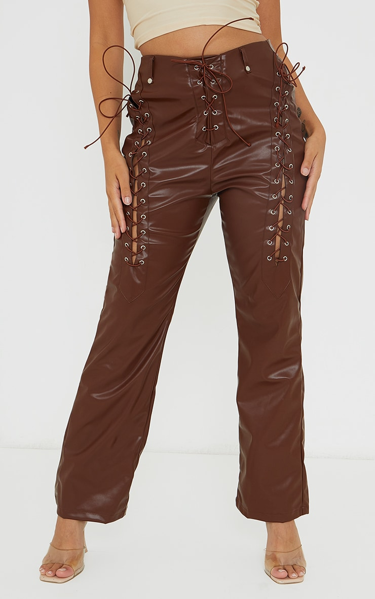 Petite Chocolate Lace Up Faux Leather Pants 2
