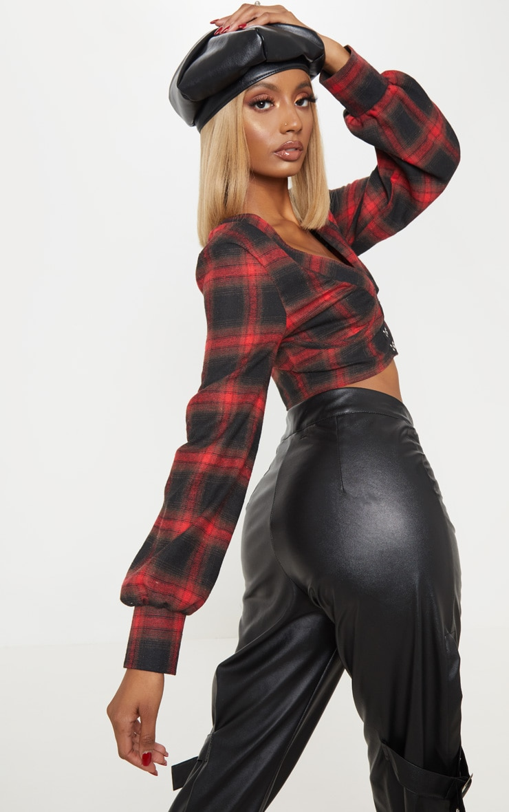 Red Tartan Hook and Eye Plunge Long Sleeve Crop Top 2