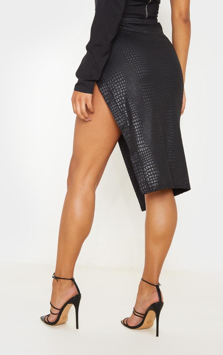 Black Embossed Croc Extreme Split Midi Skirt 4