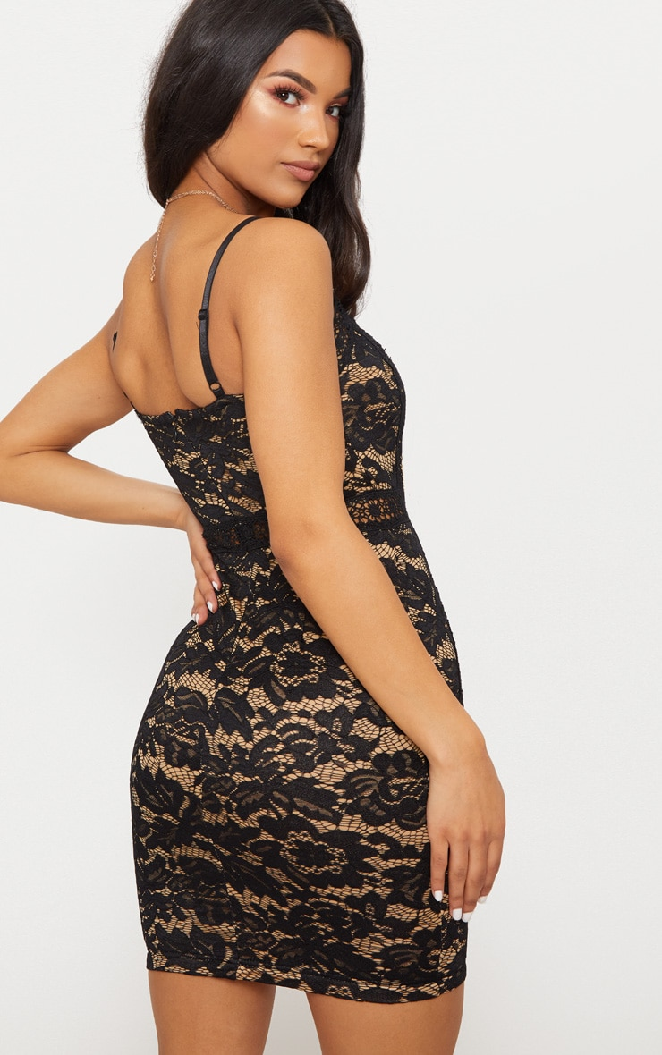 Black Strappy Lace Contrast Bodycon Dress 2
