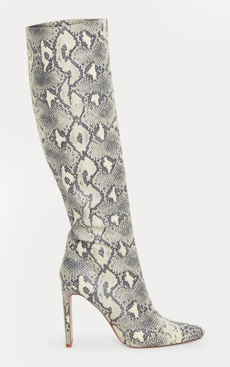 Beige Snake Print Knee High Heeled Boot 2