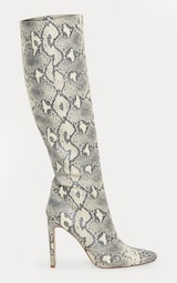 eaa2911d3c Beige Snake Print Knee High Boot | Shoes | PrettyLittleThing