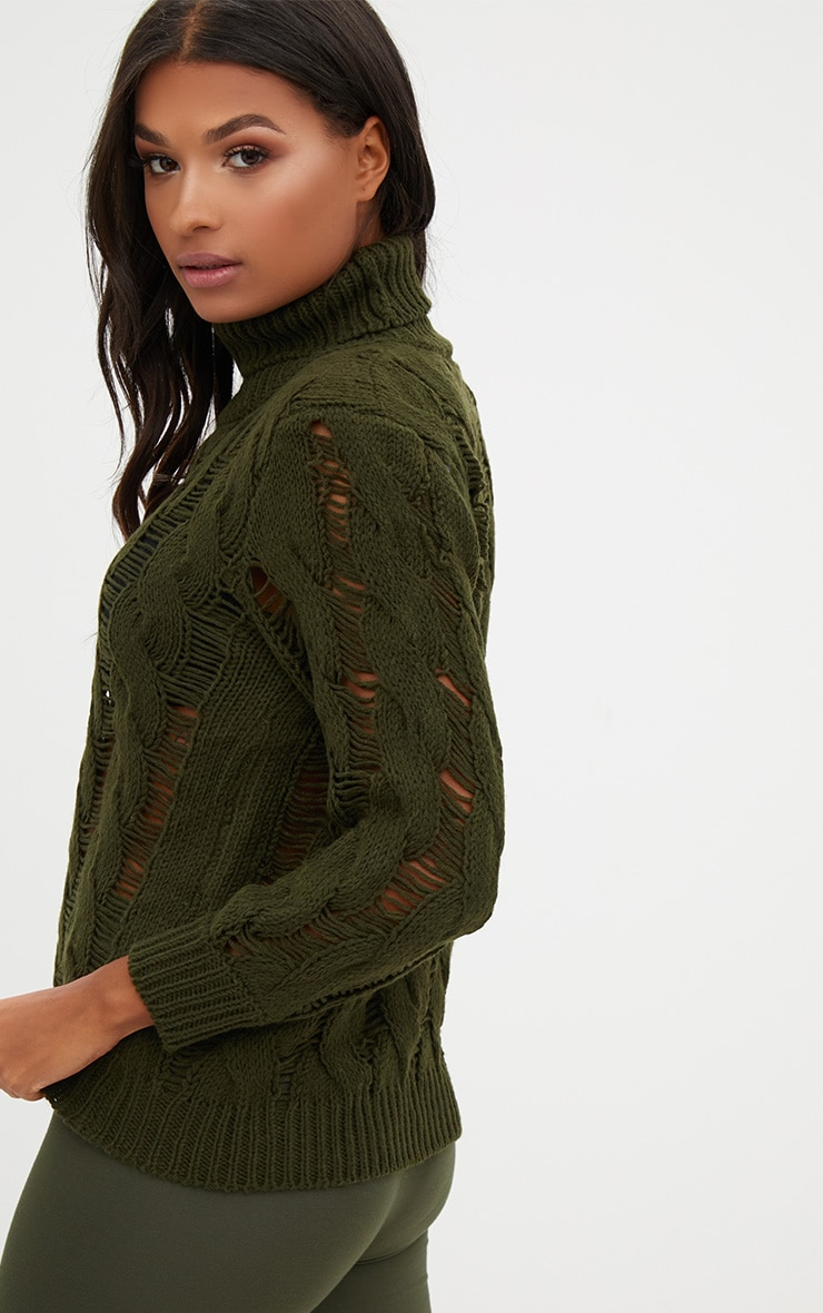 Khaki Roll Neck Distressed Knitted Jumper  2