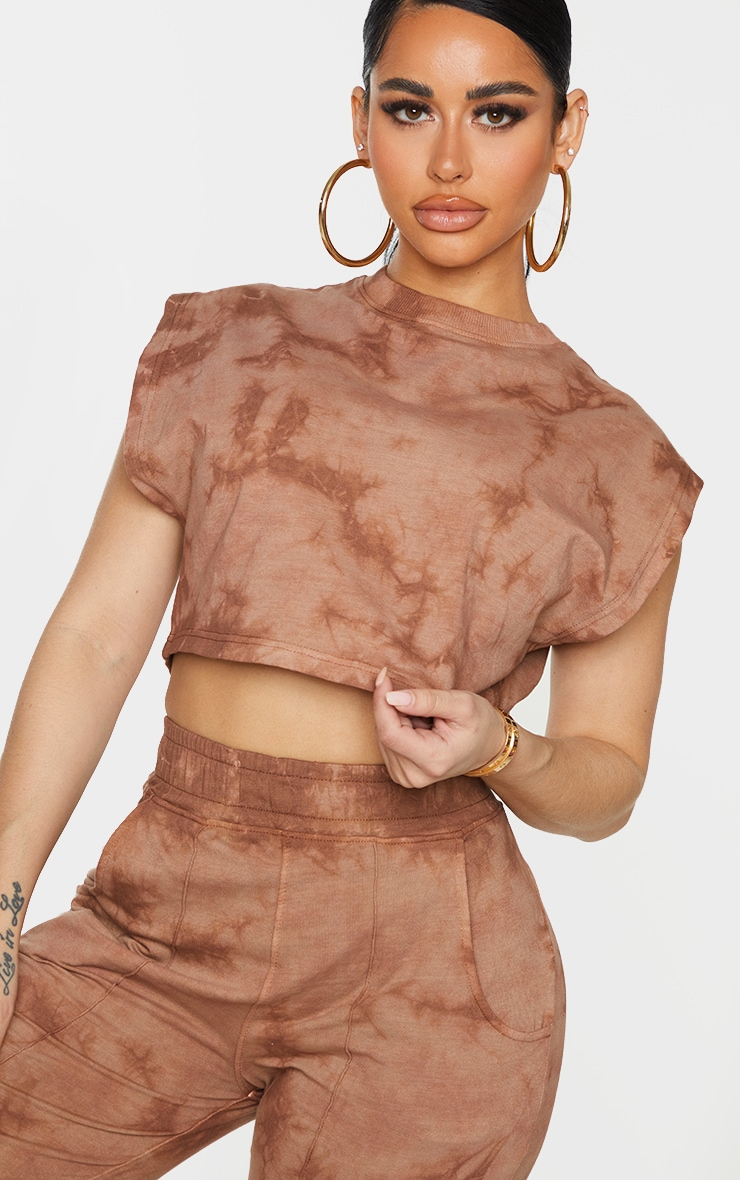 Shape Brown Acid Wash Cotton Sleeveless Crop Top 4