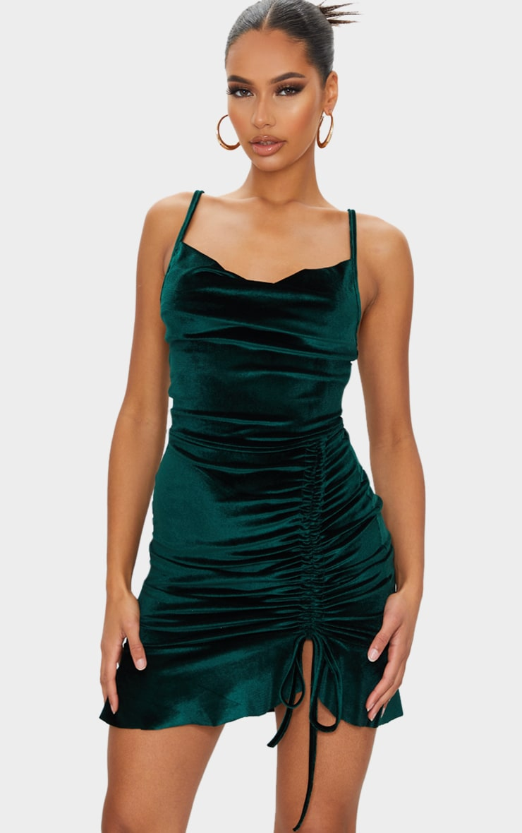 Emerald Green Velvet Strappy Ruched Frill Hem Bodycon Dress 1