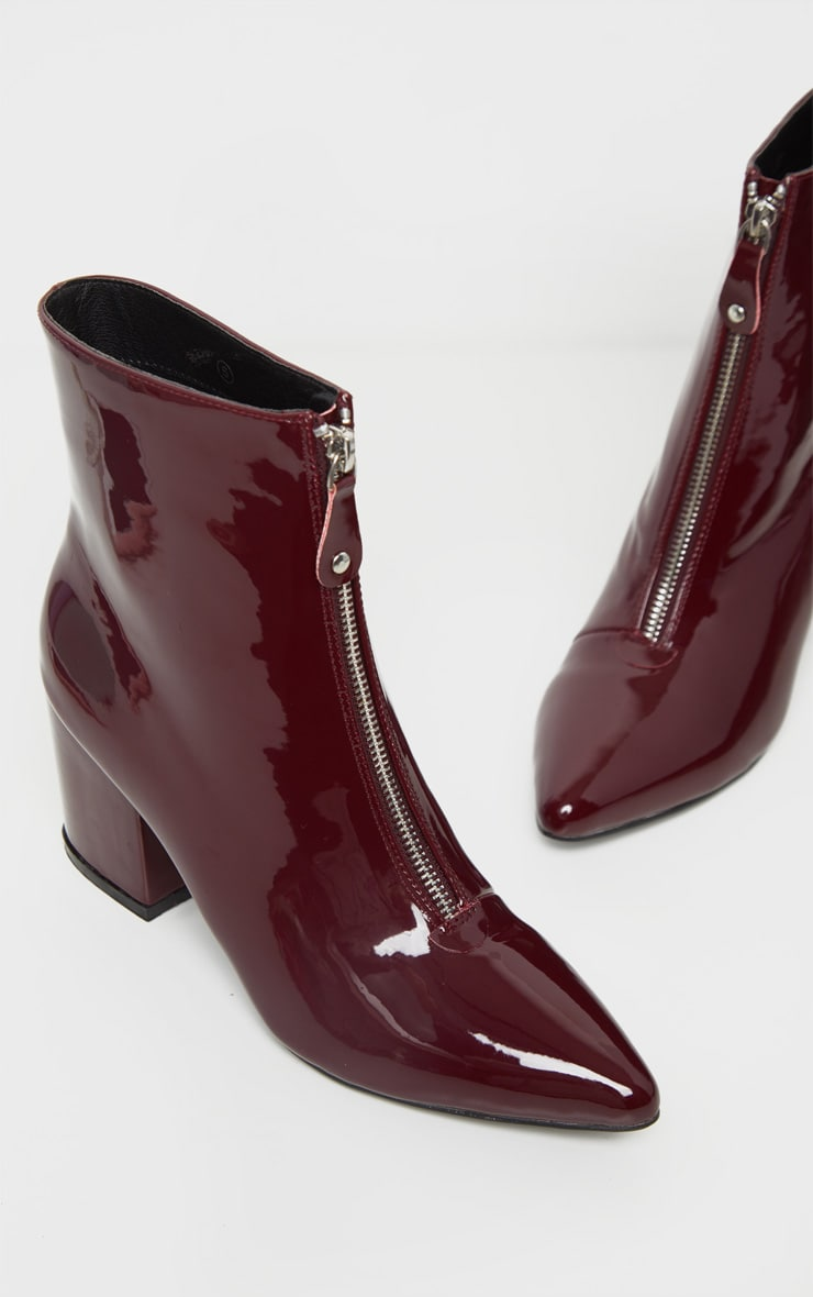 Burgundy Point Toe Zip Front Block Heel Ankle Boot 3