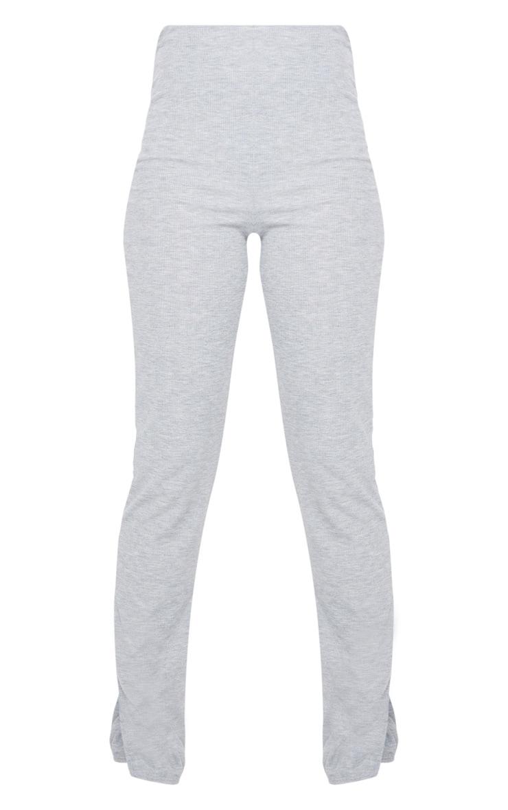 Pantalon skinny côtelé gris chiné à fentes 5