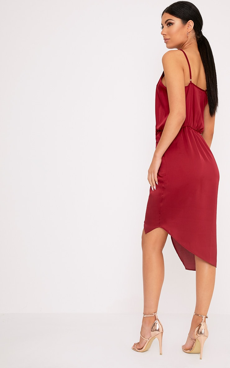 Kala Burgundy Satin Twist Front Midi Dress 2