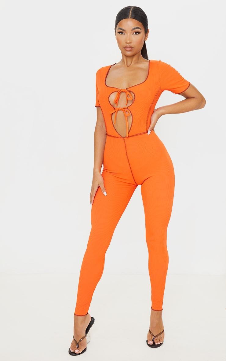 Orange Tie Front Contrast Seam Short Sleeve Jumpsuit 1