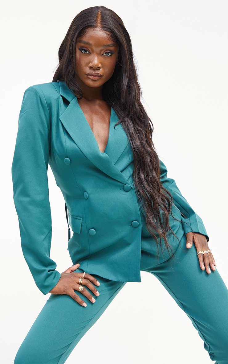 Tall  Green  Cut Out Back Lace Up  Blazer 2