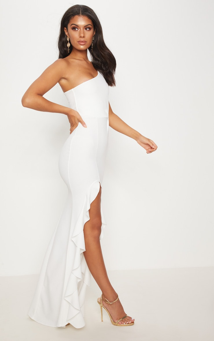 White One Shoulder Ruffle Hem Maxi Dress 4