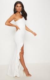 White One Shoulder Ruffle Hem Maxi Dress 4