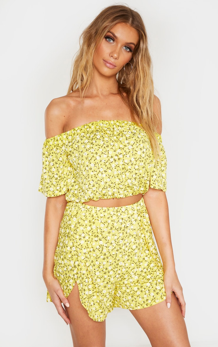 Tall Yellow Ditsy Floral Bardot Print Flare Sleeve Crop Top 1