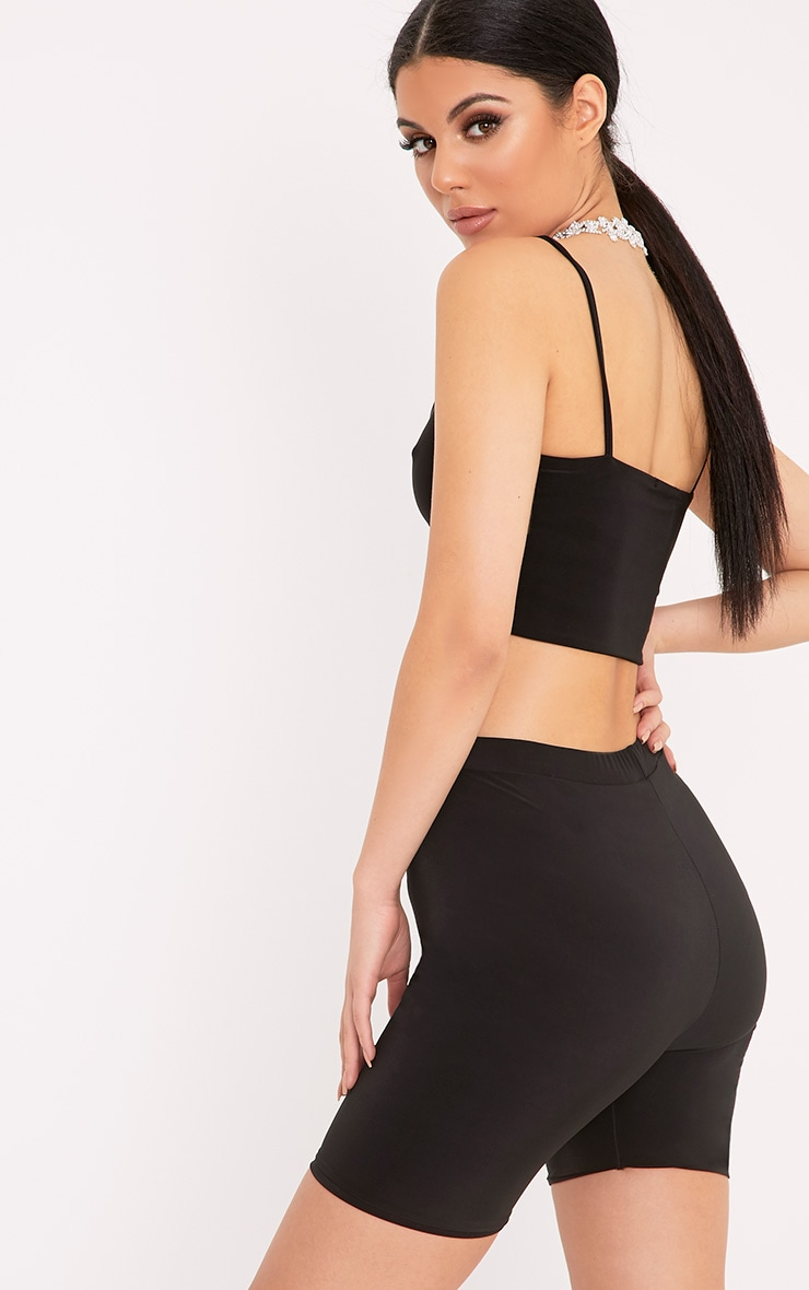 Bella Black Slinky Cami Crop Top  2