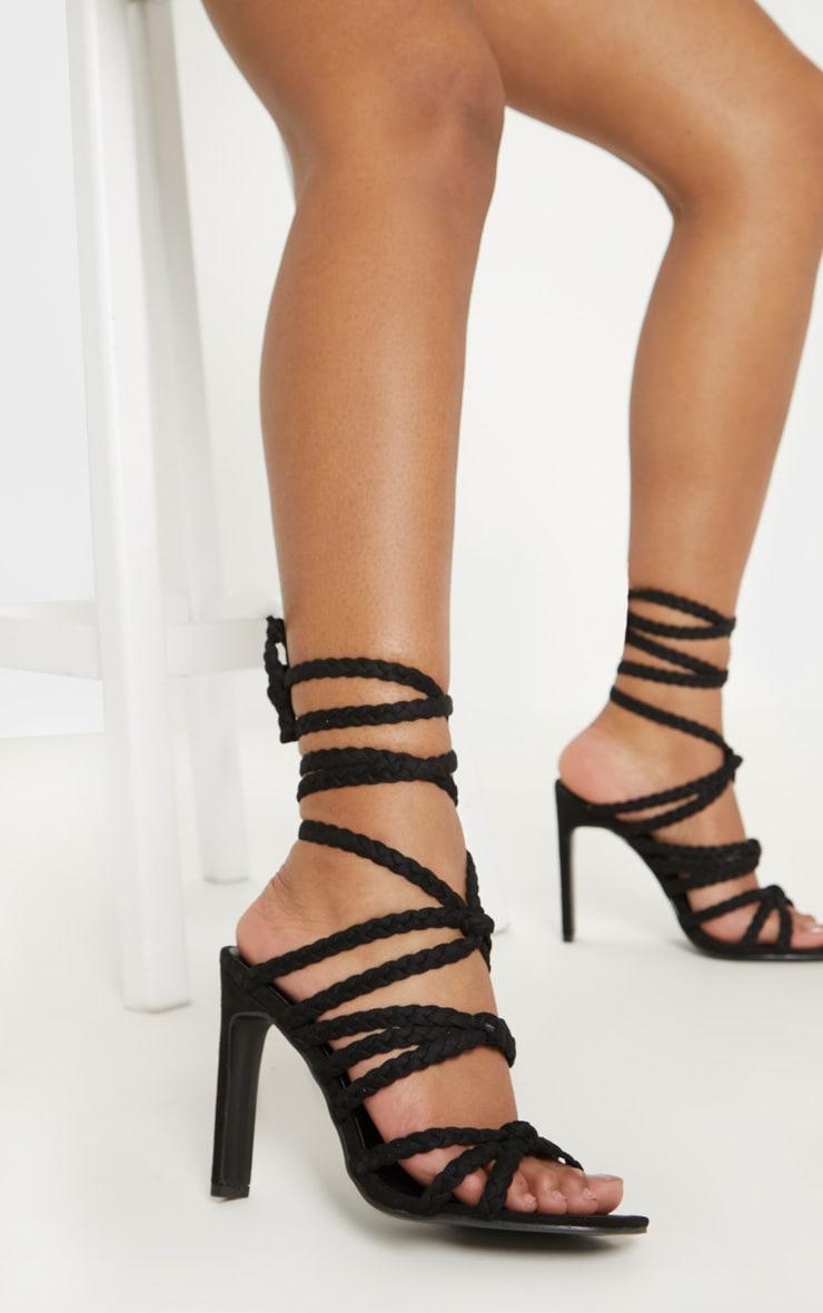Black Plaited Square Toe Lace Up Sandal 1