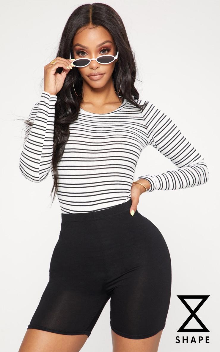 Shape Black Striped Scoop Neck Bodysuit
