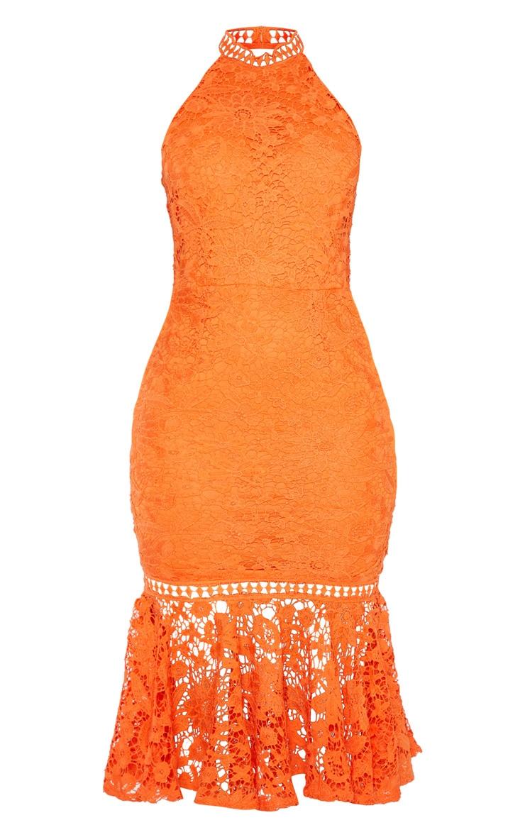 Bright Orange Lace High Neck Flute Hem Midi Dress 3