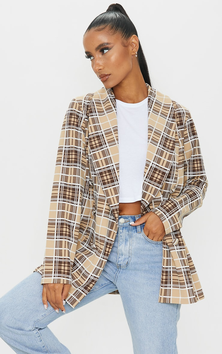 BROWN CHECKED TRIPLE BREASTED OVERSIZED CREPE BLAZER