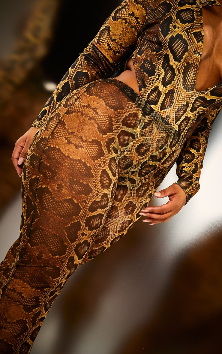 Plus Natural Snake Mesh Leggings 4
