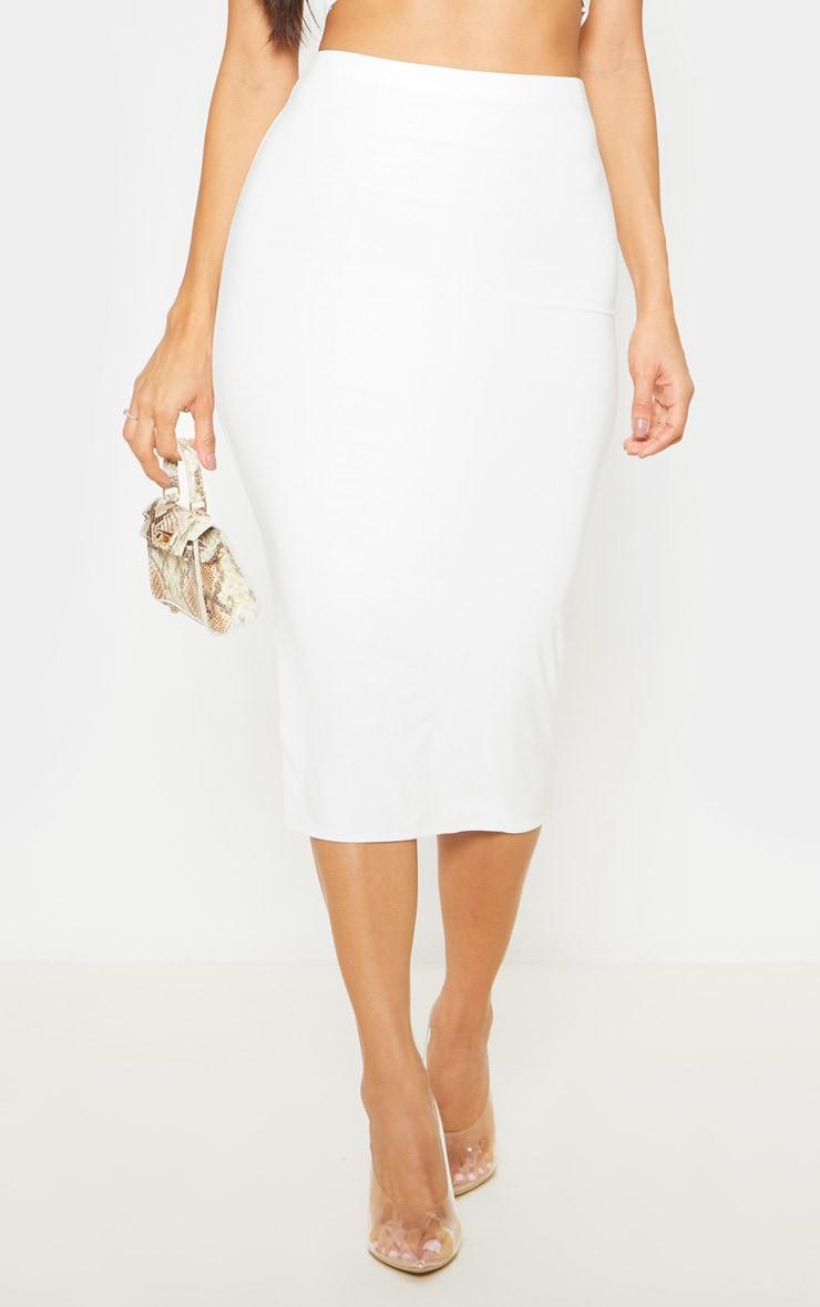 White Second Skin Slinky Midi Skirt 5