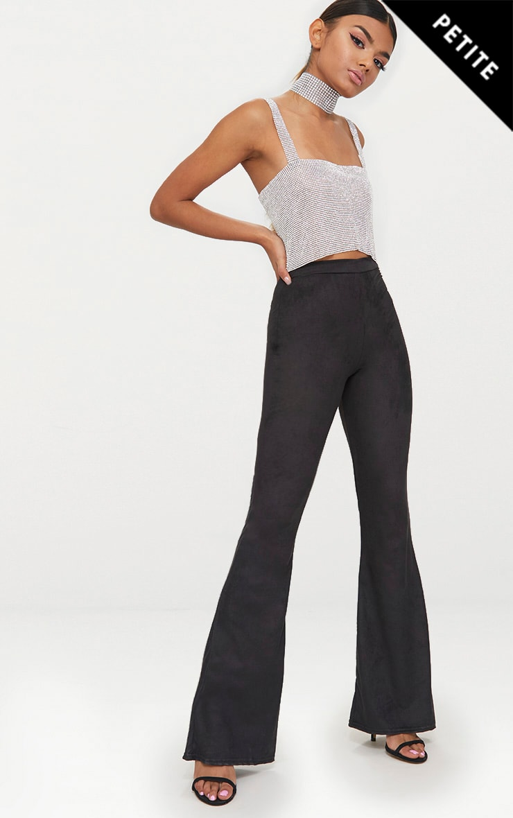 Petite Black Suedette Flared Trousers 1