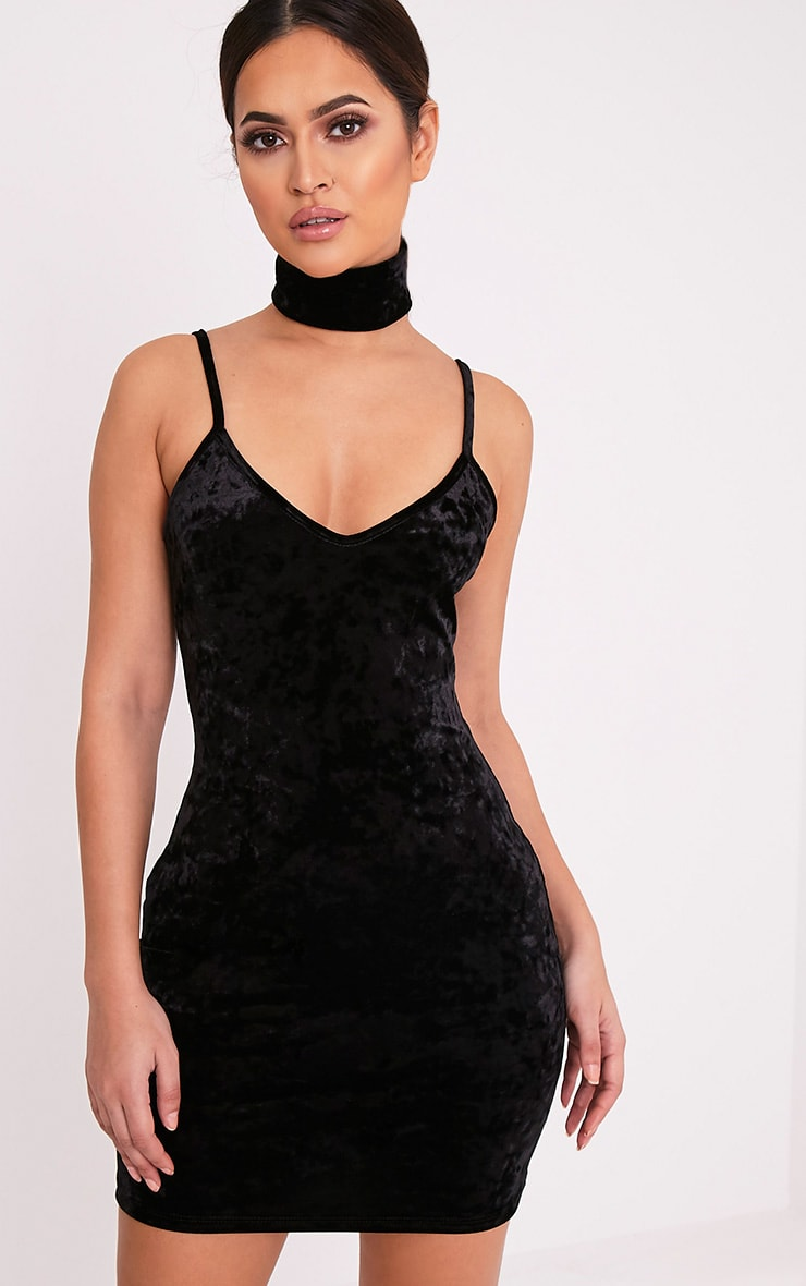 Zarah Black Velvet Choker Neck Bodycon Dress 1