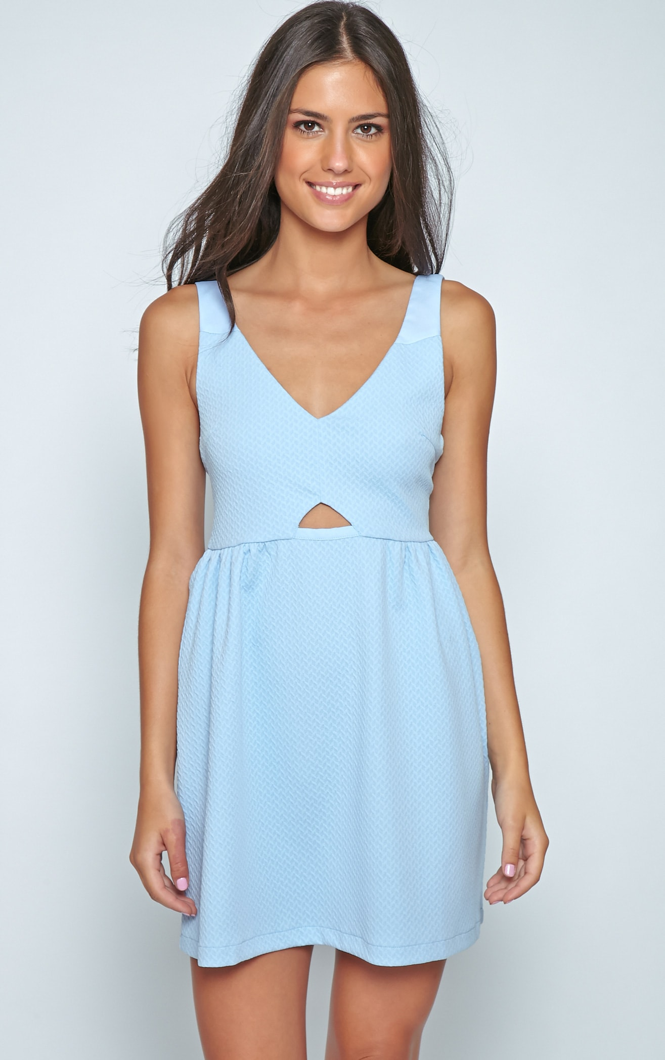 Teri Poweder Blue Textured Cut Out Skater Dress 4
