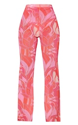 Petite Pink Floral Print Mesh Skinny Fit Flared Trousers 5