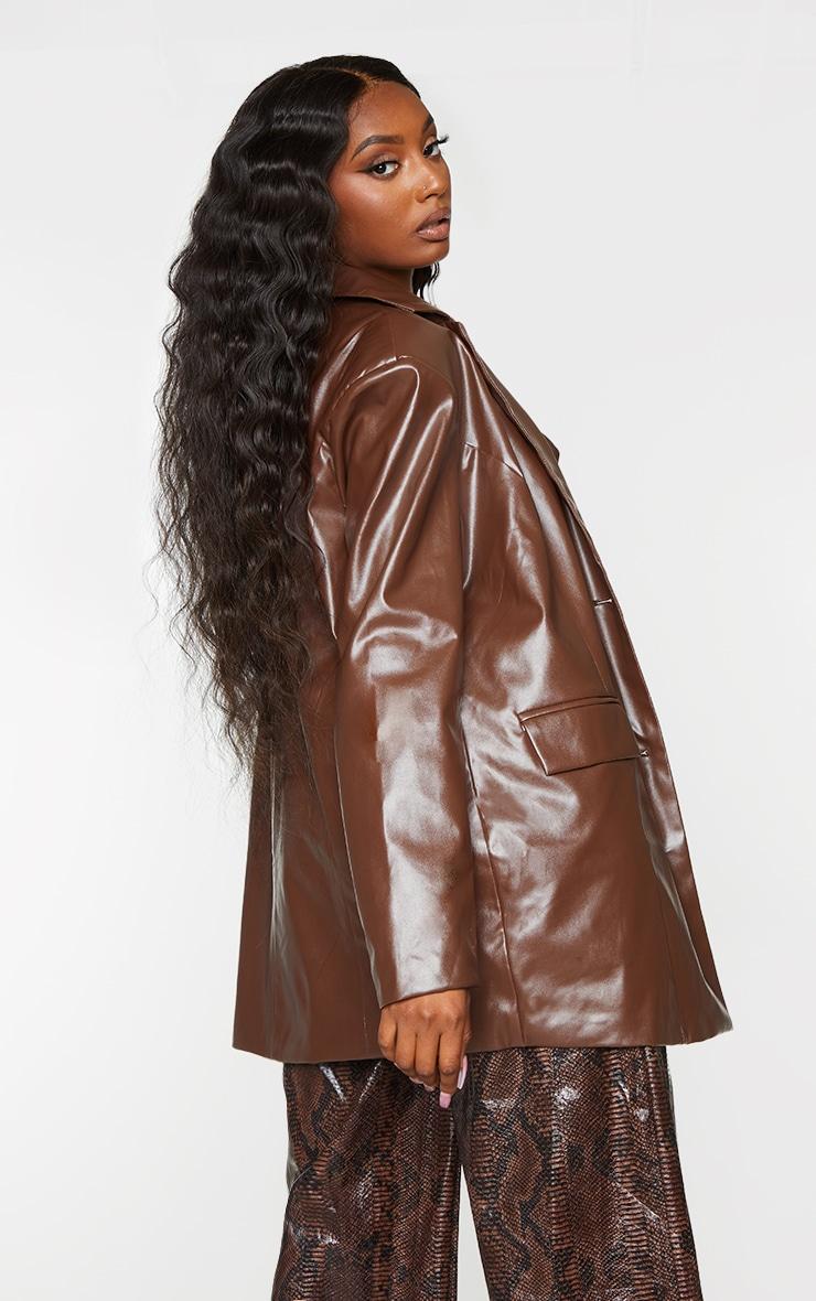 Chocolate Faux Leather Oversized Dad Blazer 2