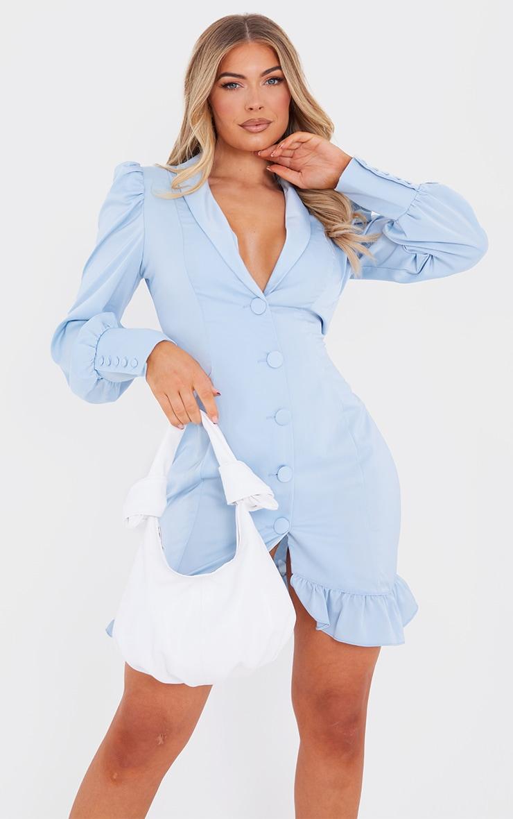 Baby Blue Button Cuff Frill Hem Blazer Dress 1