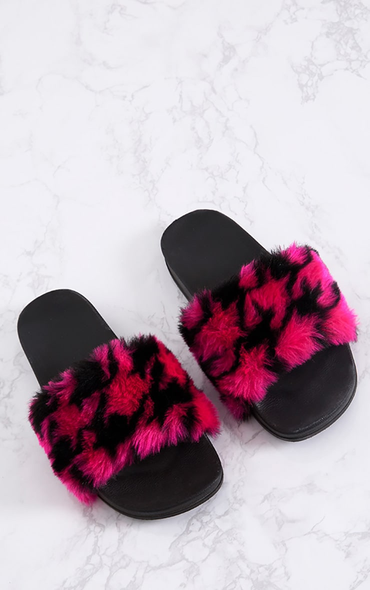 Emeline Hot Pink Printed Fluffy Sliders 1