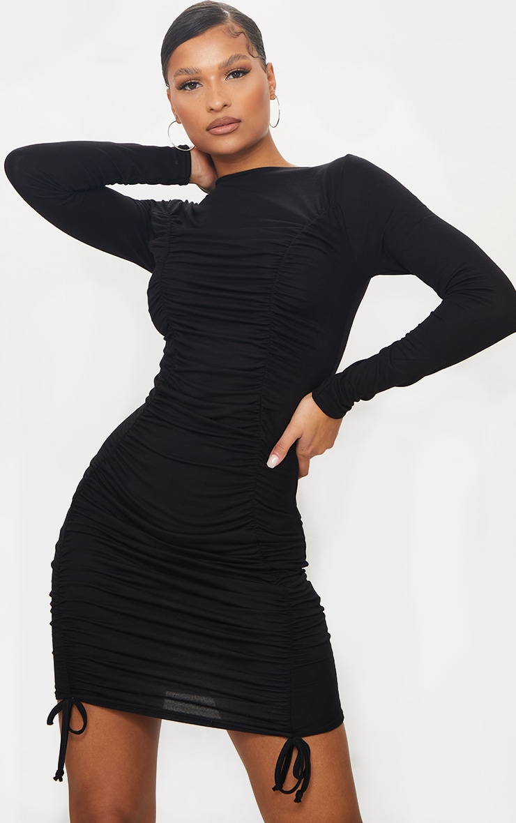 Black Double Ruched Detail Long Sleeve Bodycon Dress 1