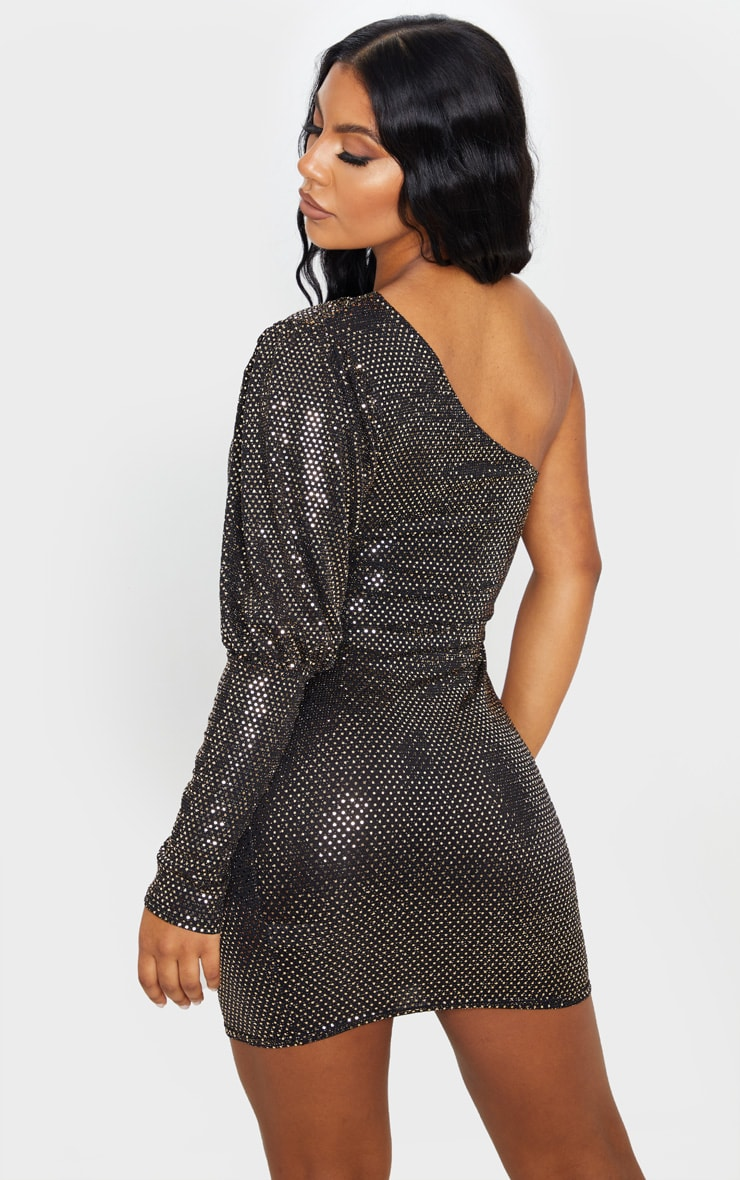 Gold Sequin Glitter One Shoulder Bodycon Dress 2