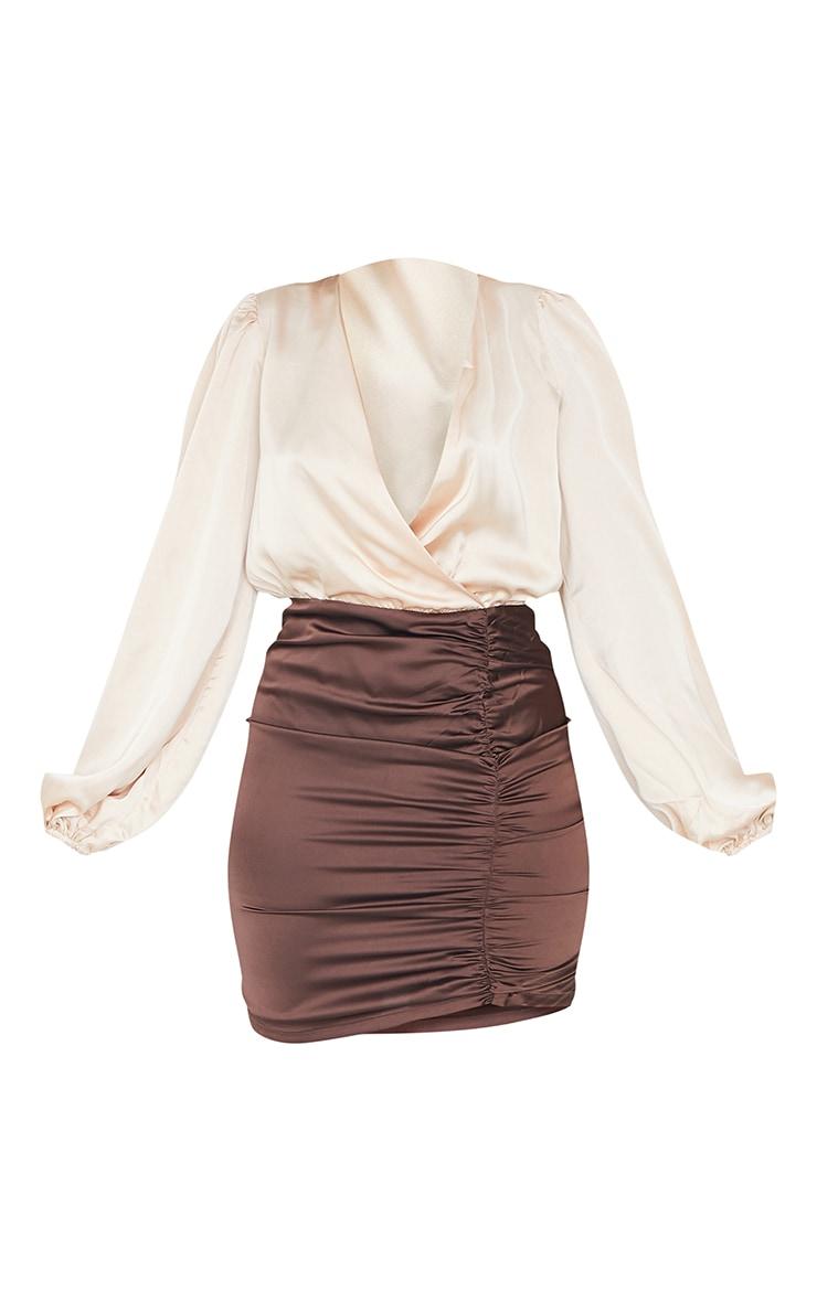 Chocolate Contrast Satin Plunge Gathered Skirt Bodycon Dress 5
