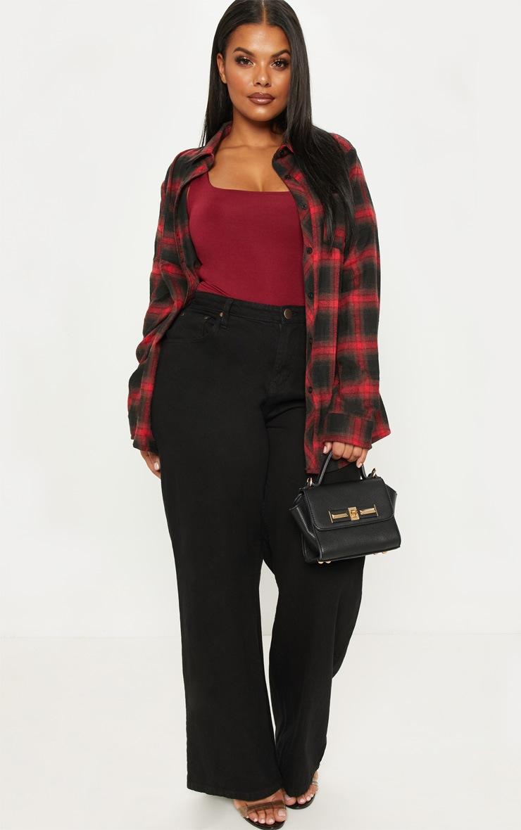 Plus Red Tartan Oversized Shirt 4