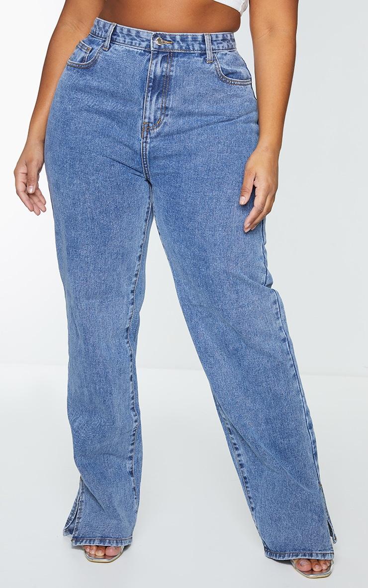 Plus Vintage Wash Split Hem Jeans 2