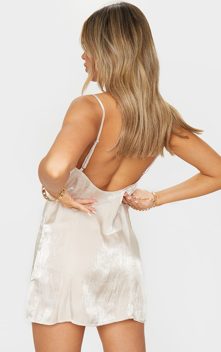 Nude Iridescent Strappy Shift Dress 2