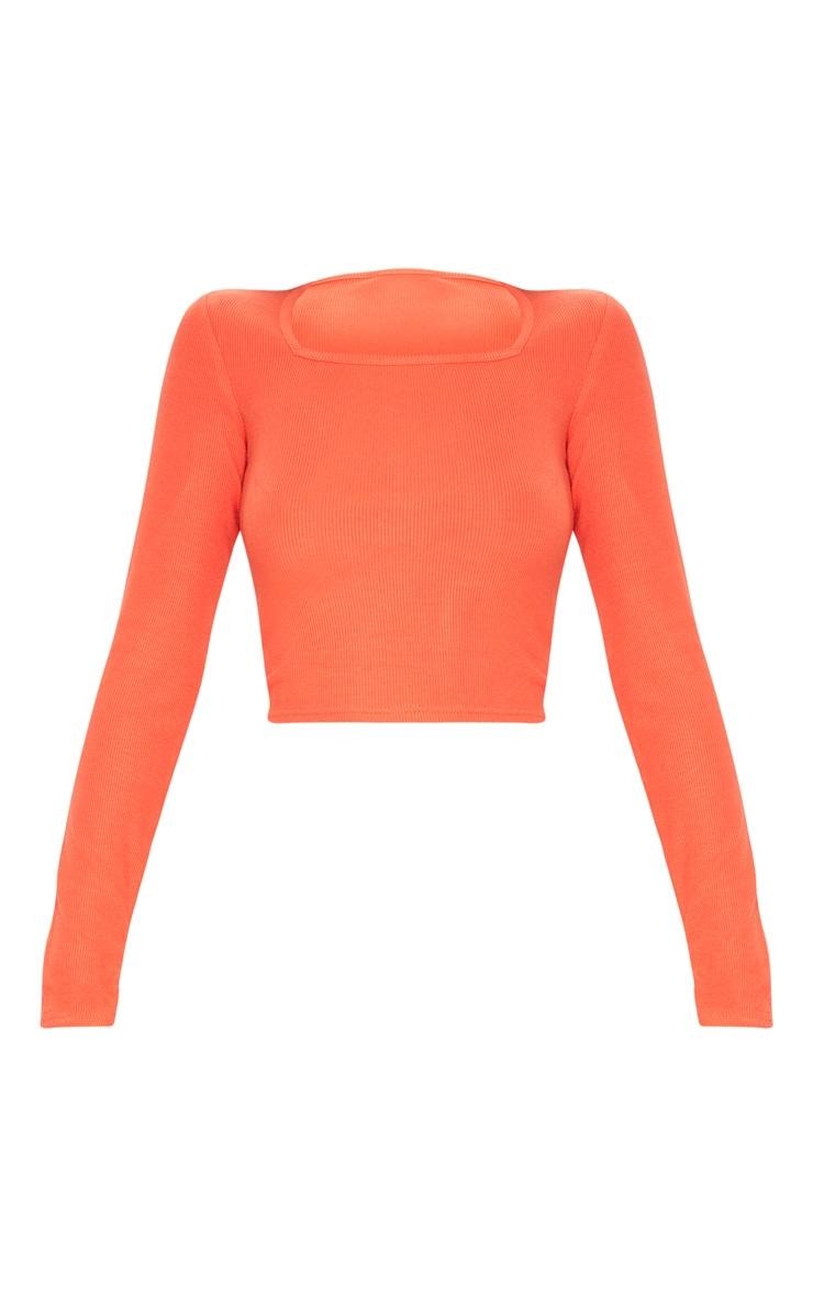 Orange Ribbed Square Neck Crop Top 3