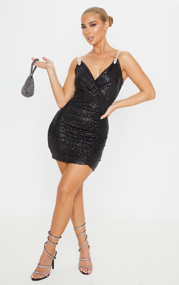Black Diamante Buckle Sequin Bodycon Dress 3