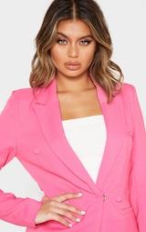 Bubblegum Pink Double Breasted Woven Blazer 6