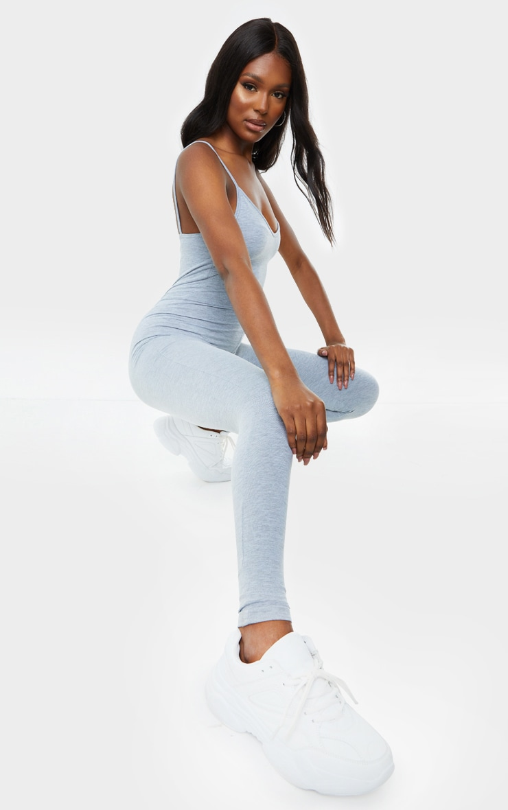 Tall Grey Marl Strappy Plunge Jumpsuit 3